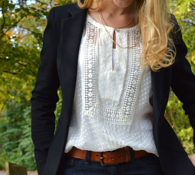 A mix-n-match fancy blouse, jeans and classic jacket