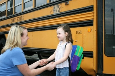 What Awaits In Public Schools Thru Children's Books. Parents taking child to the school bus and off to school