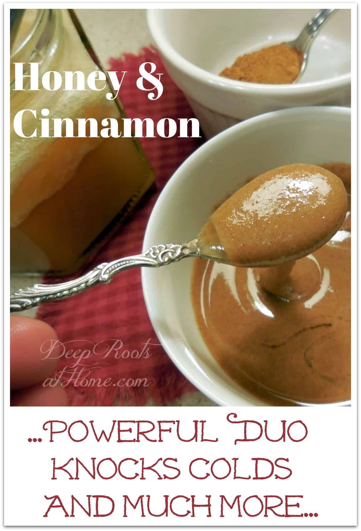 Honey and Cinnamon ~Powerful Duo Knocks Colds and Diabetes, knock out a cold, beat the flu, influenza, sore throat, chest congestion, runny nose, upset stomach, indigestion, reduce blood pressure, good for bladder infections, fights infections, relieves arthritis pain, prevents gas, coffee is dehydrating, drink more water, wound cleansing, builds immune system, Redmond's Real, anti-bacterial, anti-viral, anti-fungal, Celtic, or Himalayan, minerals, NaturalNews.com, No-Side-Effect Cough Remedy, no chemicals, no additives, free from colors or dyes, health benefits, anti-inflammatory, stabilizes blood sugar levels, LiveStrong.com, Snopes, treat disease, folk medicine, natural remedies, help for bladder infections, diabetes, Type 1 and 2, raw, local, healthy lifestyle, Encyclopedia of Healing Foods, cure for colds, old-fashioned, home remedy, DIY, medicine cabinet, herbal remedies,