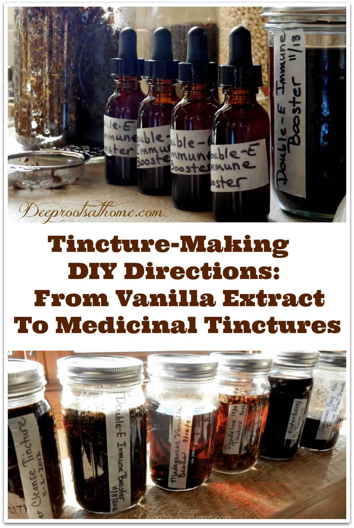 Tincture Making Directions: From Vanilla Extract To Medicinal Tinctures. Bottles and jars of finished tinctures.