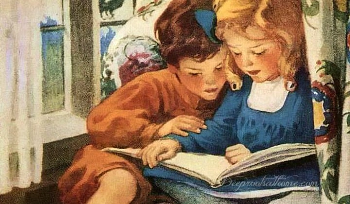 60 Titles For the Well-Rounded Children's Bookshelf. A Jessie Wilcox Smith painting of two adorable children snuggled in a chair reading together.