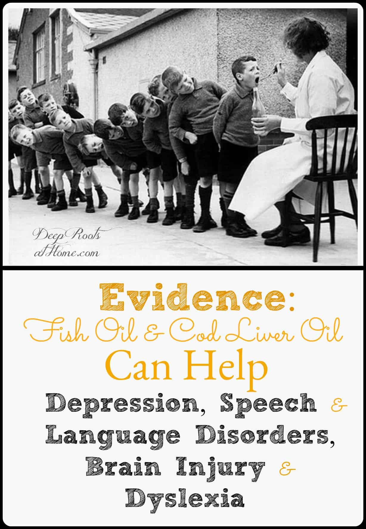 Evidence Fish or Cod Liver Oil Can Help Brain Processing Disorders, ADD. Old photo of young children at a school in Europe lined up, taking cod liver oil on spoon,