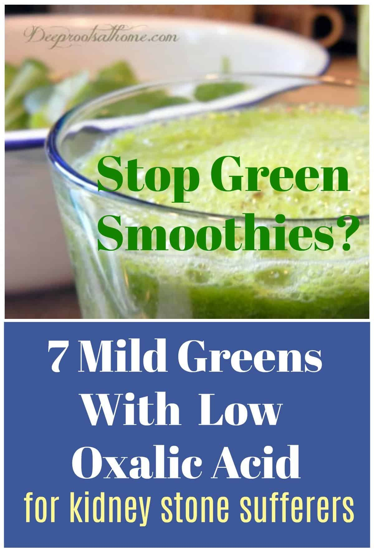 Stop Green Smoothies? 7 Mild Greens With Low Oxalic Acid. A bright green smoothie.