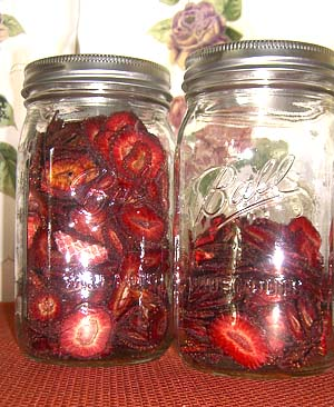 freeze dried strawberries in glass jars