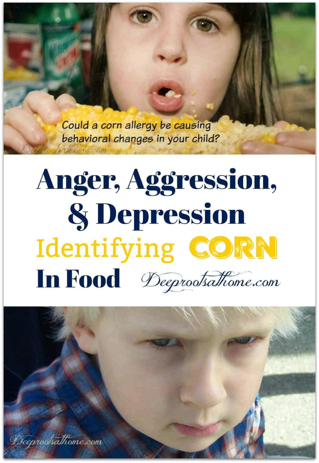 Anger, Aggression, Depression? Identifying Corn In Food. A 8 or 9 year old girl eating corn on the cob with pieces of corn stuck to her face. Also a young boy with a sullen, defiant expression.