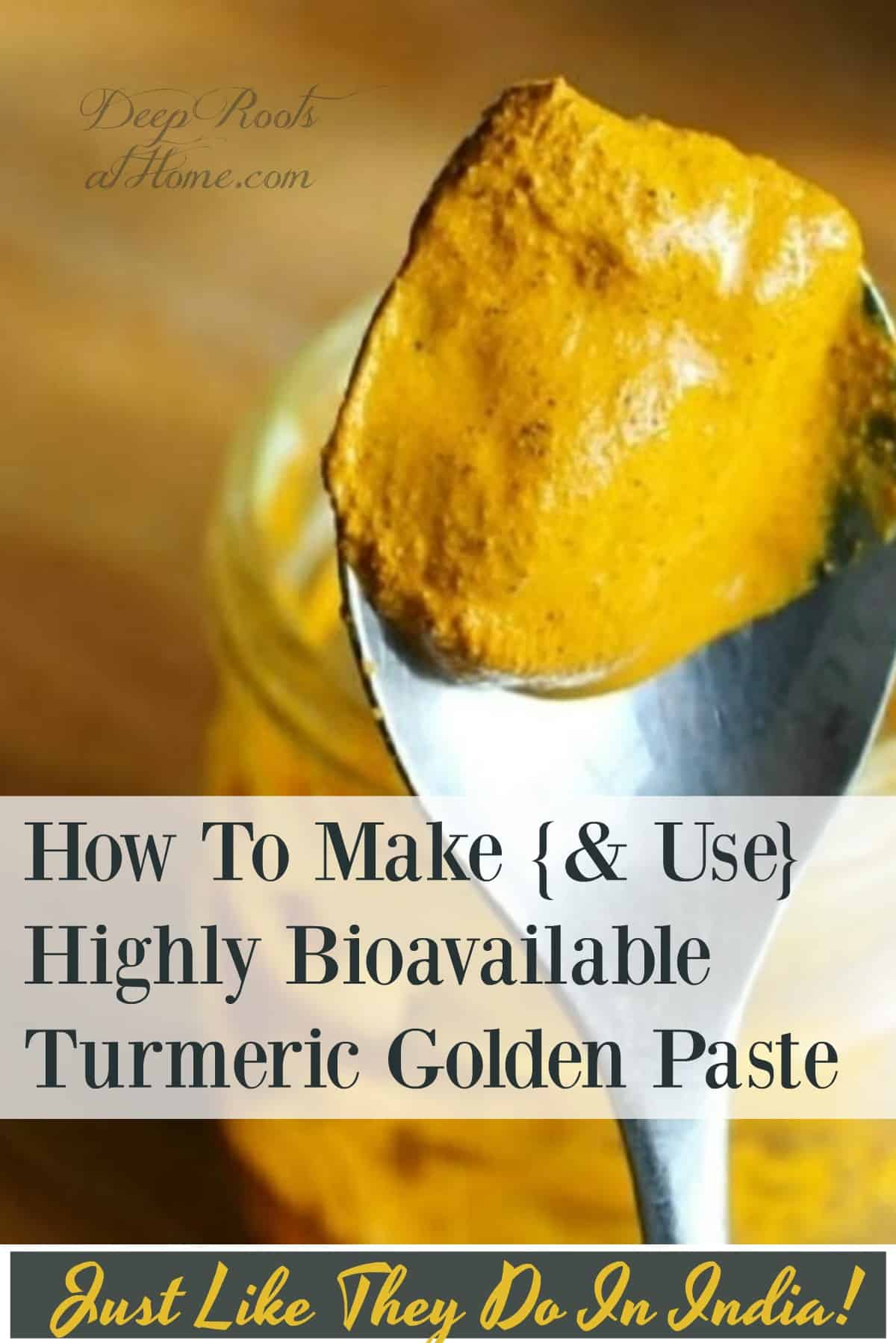 How To Make {& Use} Highly Bioavailable Turmeric Golden Paste. Turmeric Golden Paste on a spoon.