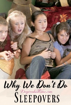 I'm Sorry, We Don't Do Sleepovers & 4 Reasons Why Not, Four teens scared or shocked by what they are watching on a video