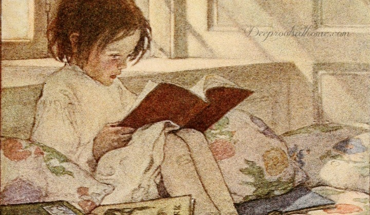 75 Classic Books We Shouldn't Neglect In A Child's Reading Repertoire. Painting of a young girl reading Jessie Wilcox Smith