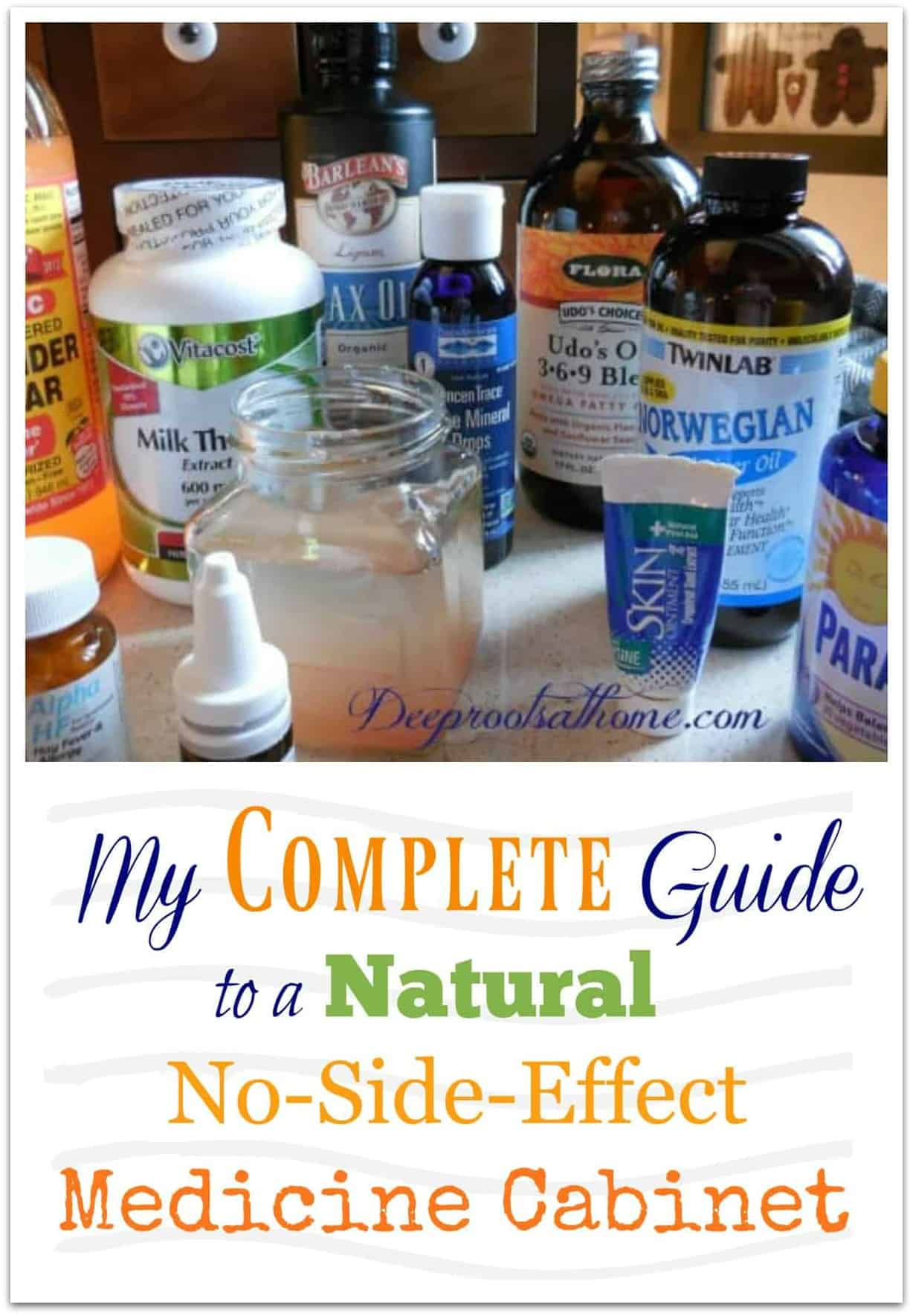 Complete Guide To A Natural No-Side-Effect Medicine Cabinet. Many of the alternative supplements that we've used in our home for over 30 years that work for us.