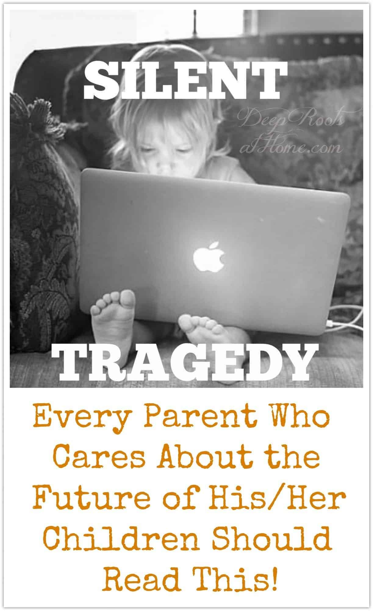 Child Harm, the Silent Tragedy: Every Parent who Cares Should Read This. a child all alone engrossed in a laptop with a glowing Apple logo