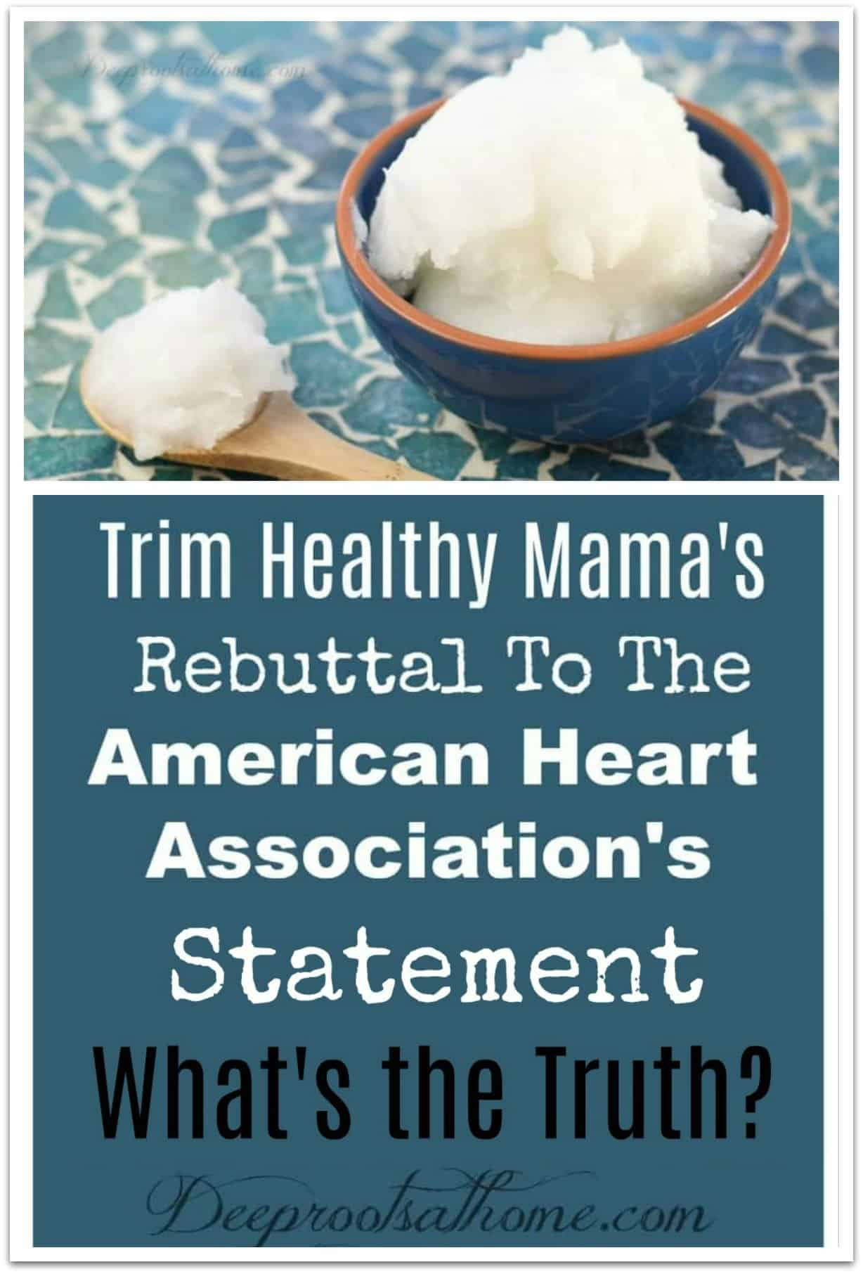 Trim Healthy Mama's Rebuttal To The American Heart Association. a bowl of pure virgin coconut oil