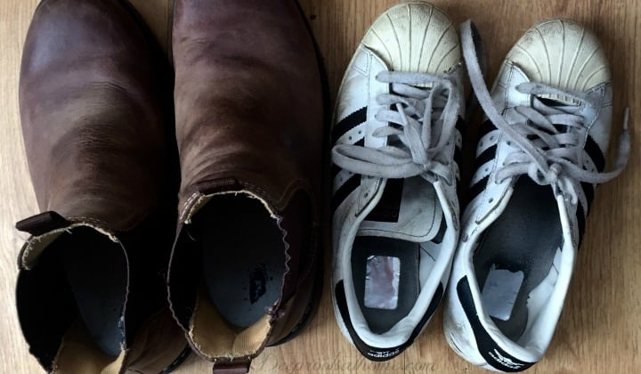 Child Grooming & Abduction: A True Story Shared To Help Us Protect Our Children. A father's boots right next to a daughter's sneakers.