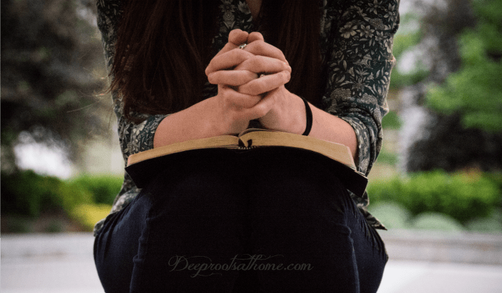 A 30-Day Prayer Challenge: Praying Character Virtues For Your Children. Image of a praying woman with Bible in her lap.