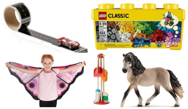 Toys Worth Owning: Curiosity-Sparking, Hands-On For Open-Ended Play. . Classic Legos, 'Let's play house broom, mop, dusting set', butterfly wings, moth wings, toy horse
