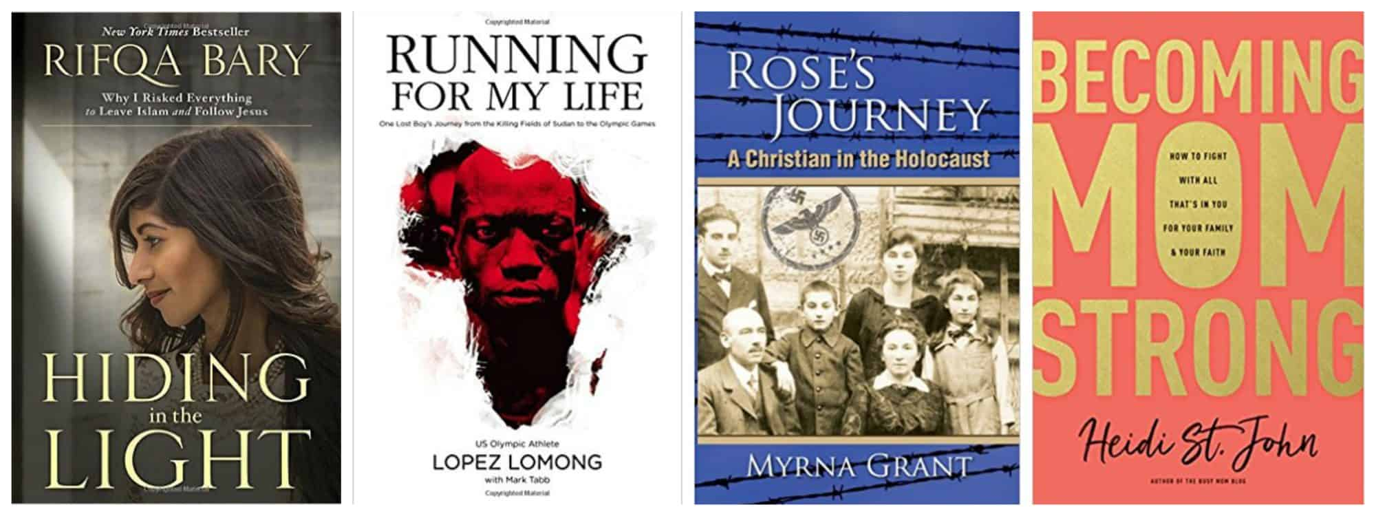 2018 Reading List: New and {Worthy To Be Revisited} Older Books. 4 book covers:Becoming MomStrong by Heidi St. John; Running for My Life, Killing Fields of Sudan by Lopez Lumong; Hiding In the Light by Rifqa Bary; Rose's Journey by Myrna Grant.