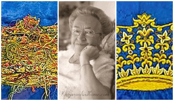 Corrie Ten Boom's Piece Of Embroidery | Knots & A Crown. Corrie ten Boom and both sides of the tapestry.