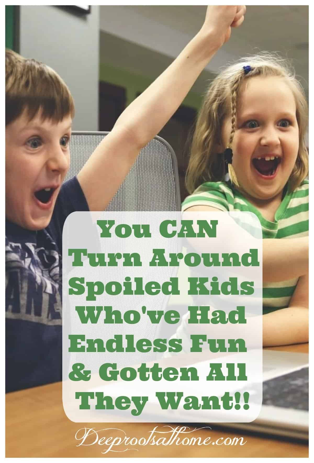 Turn Around Spoiled Kids Who've had Endless Fun & Gotten all They Want. A young boy and a girl cheering wildly over a game or something exciting on their laptop.