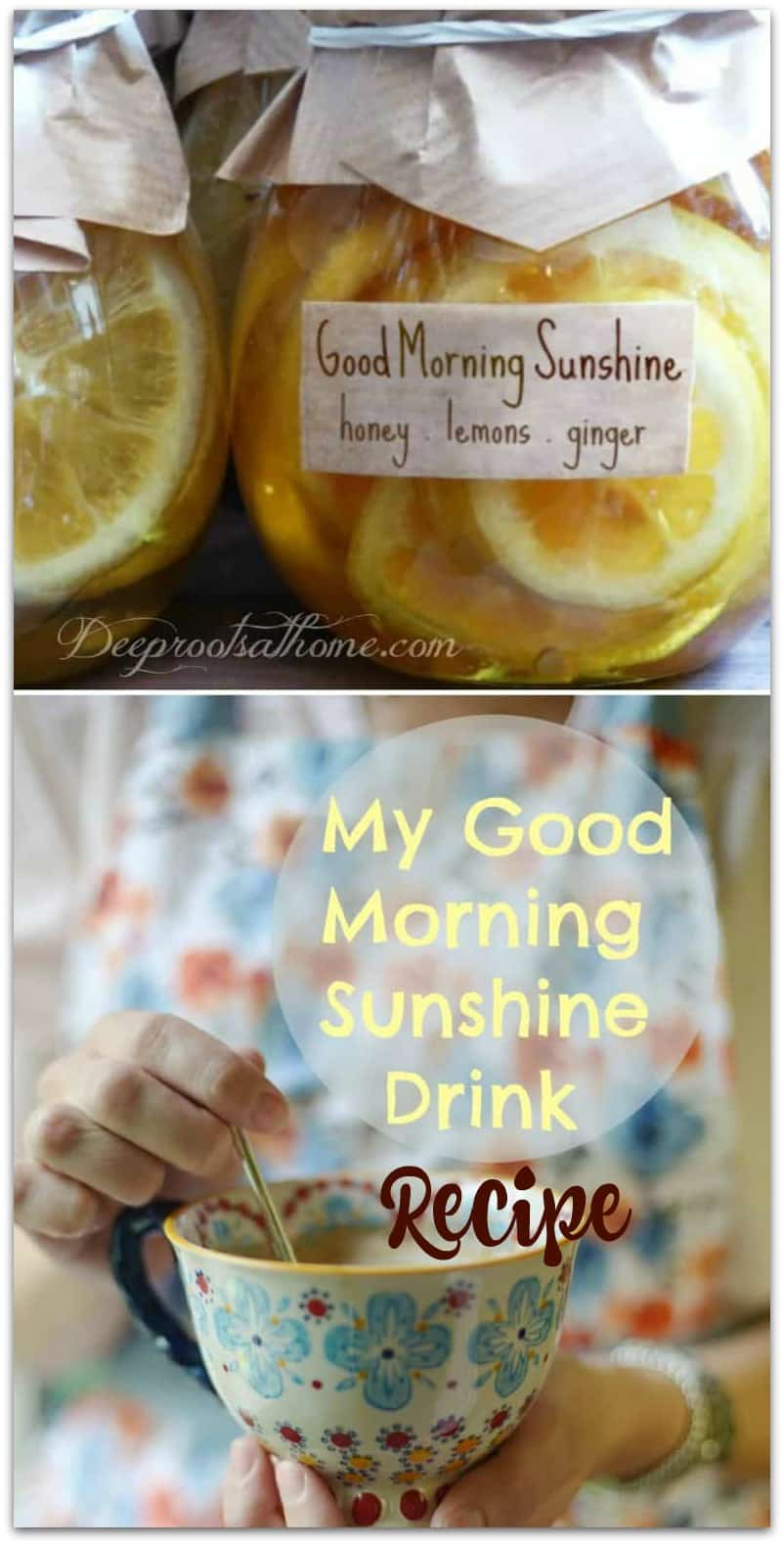 My 'Good-Morning-Sunshine' Drink: Honey & Lemons In Warm Water. Pin image