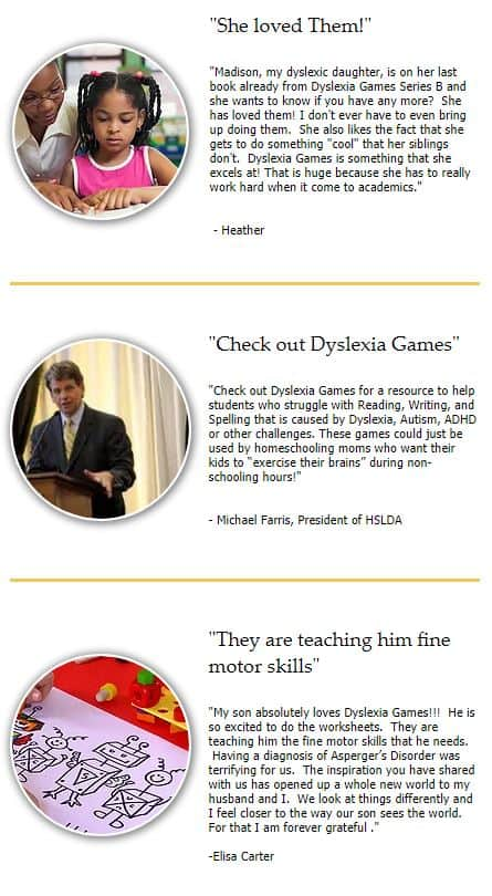 Written testimonials from three parents of dyslexic children