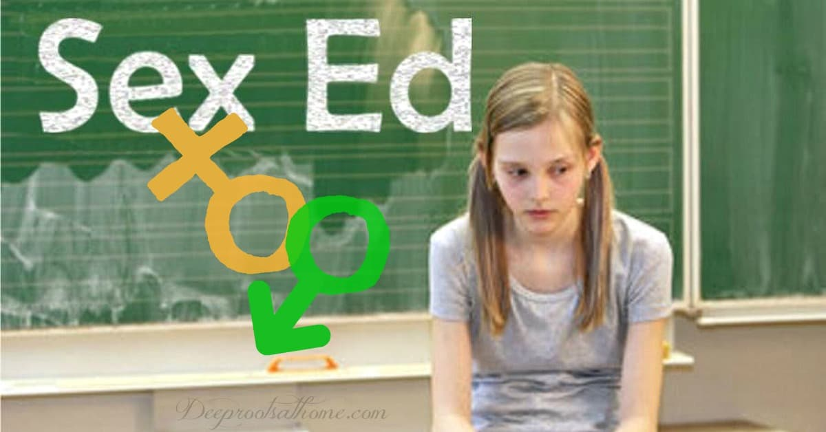 "Sex Education & Graphic Images for K-5 In Public Schools. A dejected and worried young girl in a classroom with the words ""Sex Ed"" written on the blackboard."