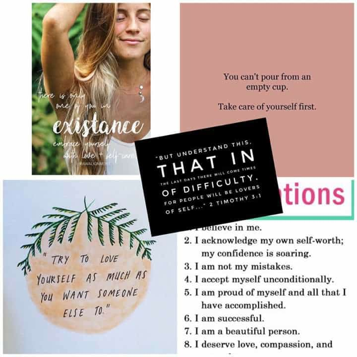Self Love /Self Care: A Many-Faced Culture: A Young Woman's Warning. A collage of self-help teaching affirmations and self-love memes.