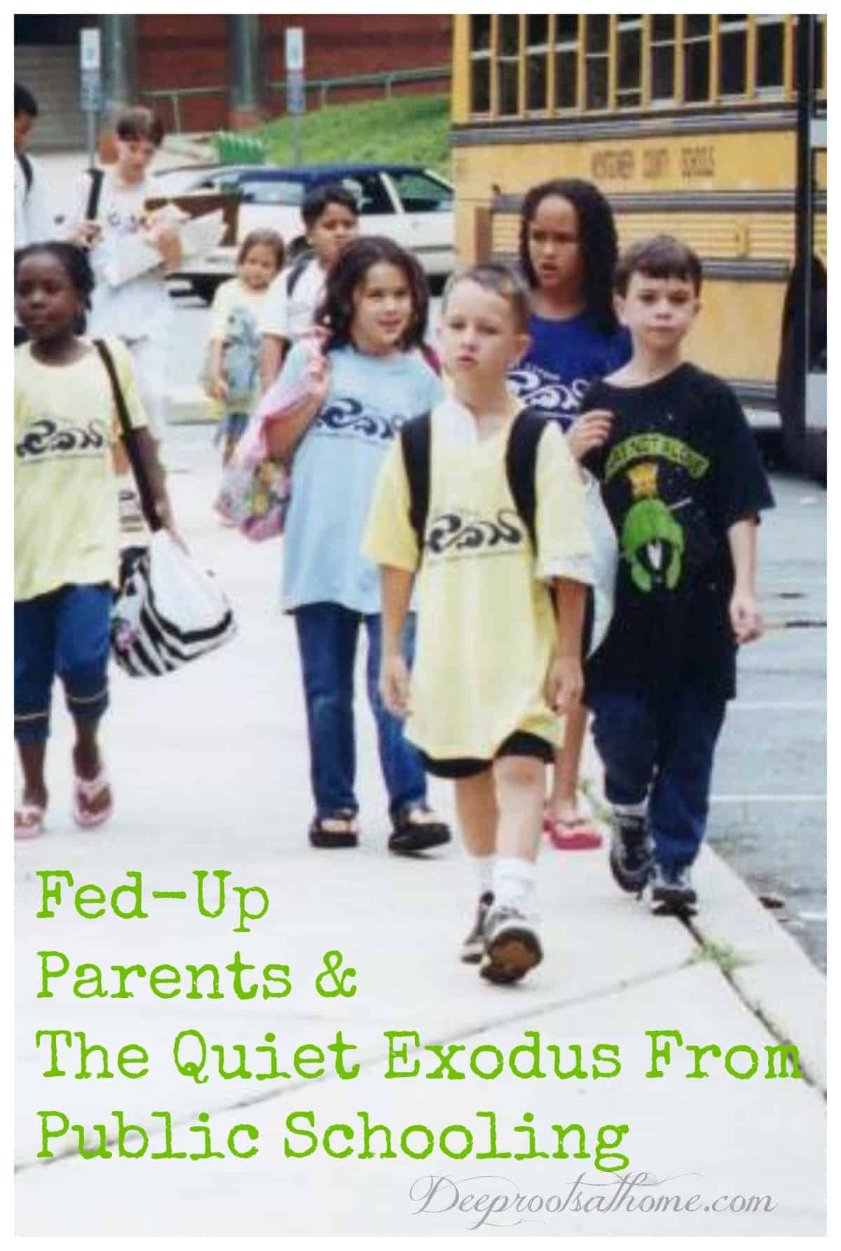 Fed-Up Parents & The Quiet Exodus From Public Schooling. Tired and stoic children walking to their school buses.