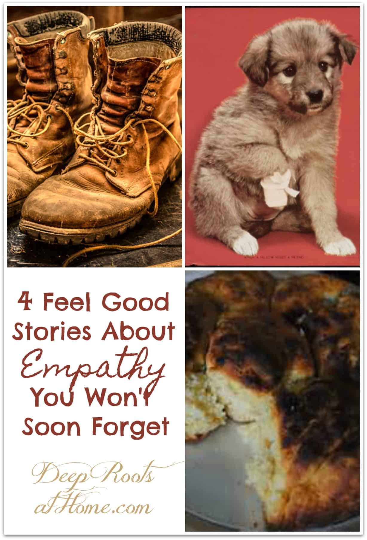 4 Feel Good Stories About Empathy You Won't Soon Forget. A hurt puppy, old well-used boots, and a burned biscuit or cake. Pin image