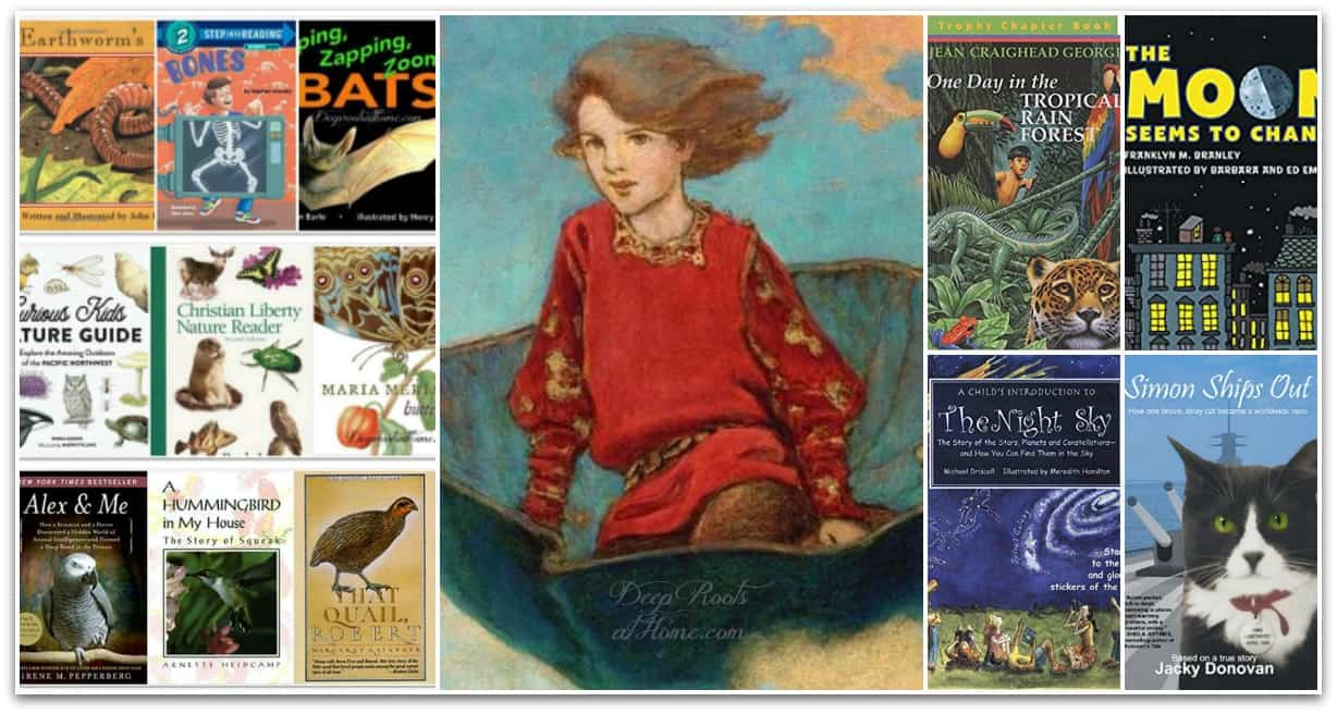 57 K - Gr. 5 True Animal & Nature Story Books For Curious Kids. A Jessie Wilcox Smith painting of a young gallant boy transported on a metal boat into nature and space.
