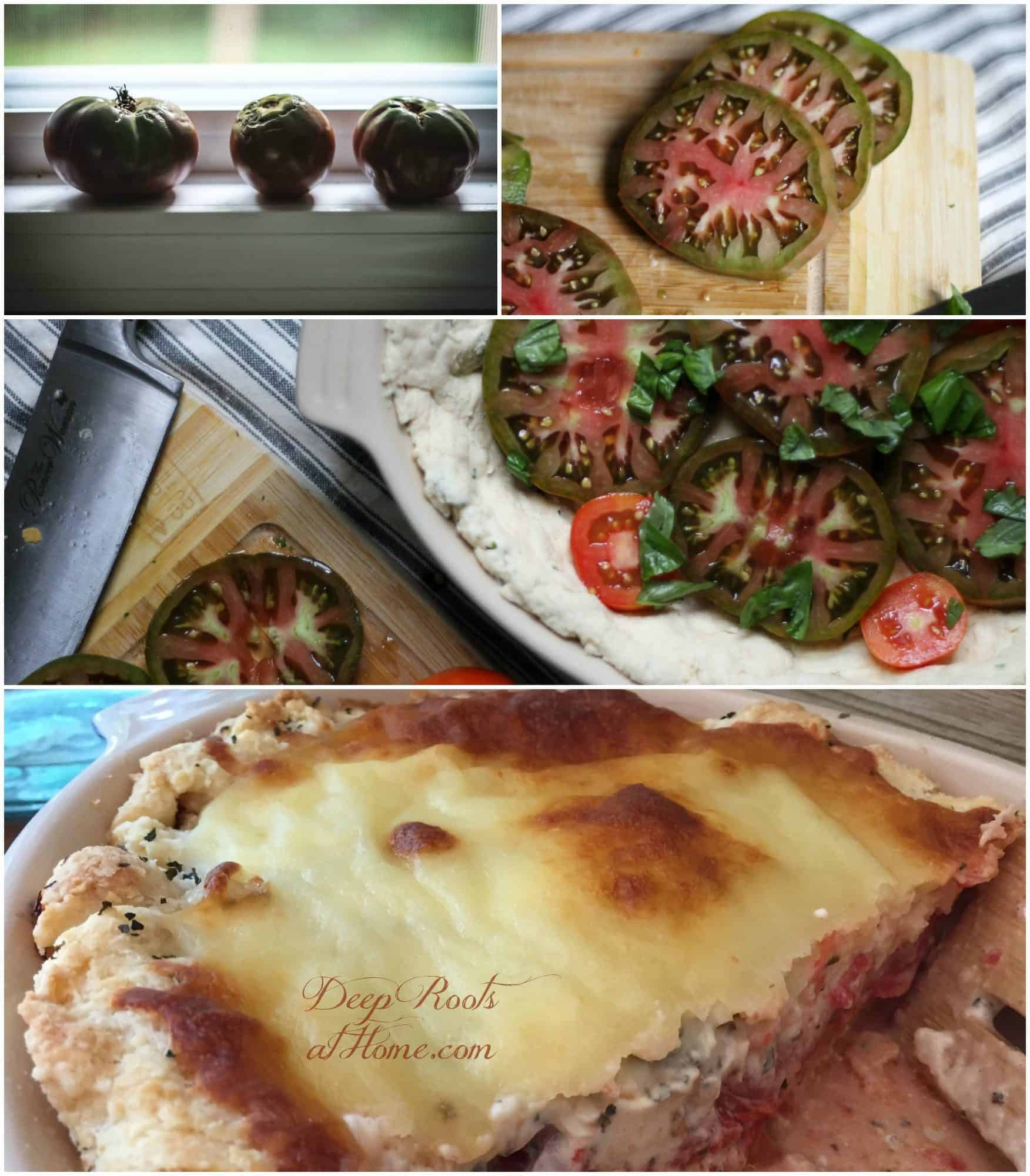Olivia's Tomato Pie: Savory, Cheesy Summertime Favorite. A collage of steps taken to make this colorful summertime tomato pie.