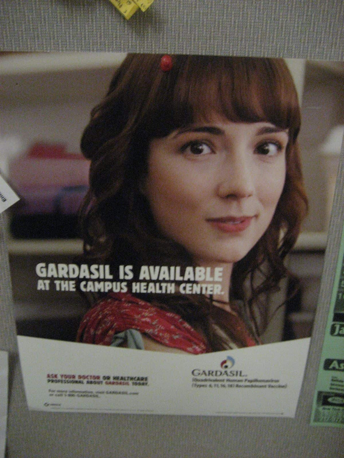 Pap Smear Amnesia: Pap Smear Proven Track Record for HPV Diseases. A Gardasil ad on a college campus