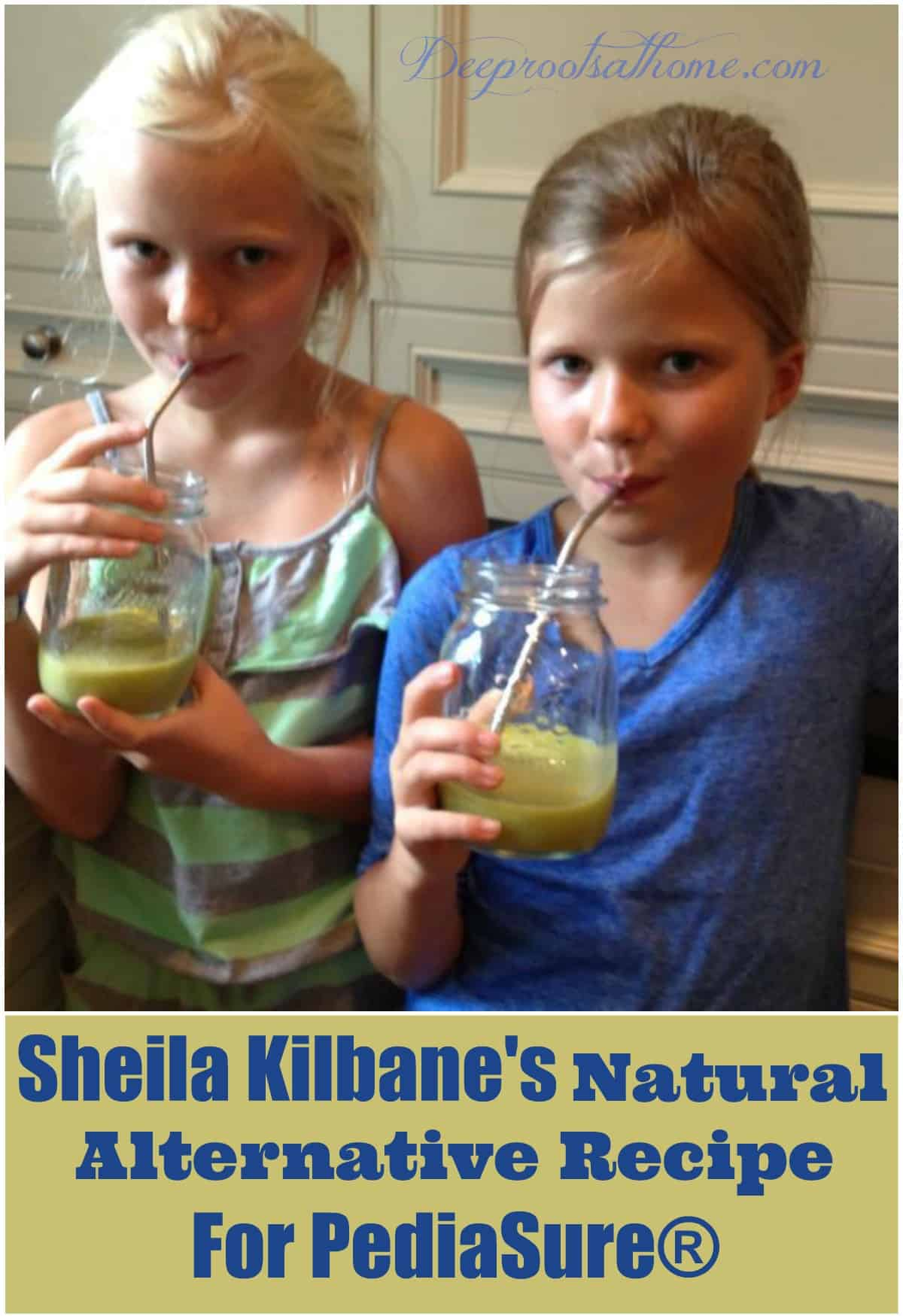 2 Cute young girls drinking Dr. Kilbane's Pediasure alternative.