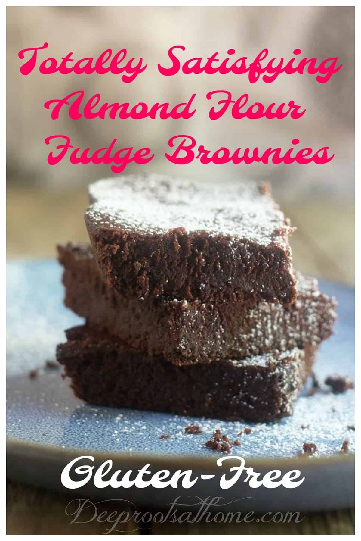Totally Satisfying, Gluten-Free, Almond Flour Fudge Brownies. Chocolaty fudge brownies with a dusting of confectioner's sugar.