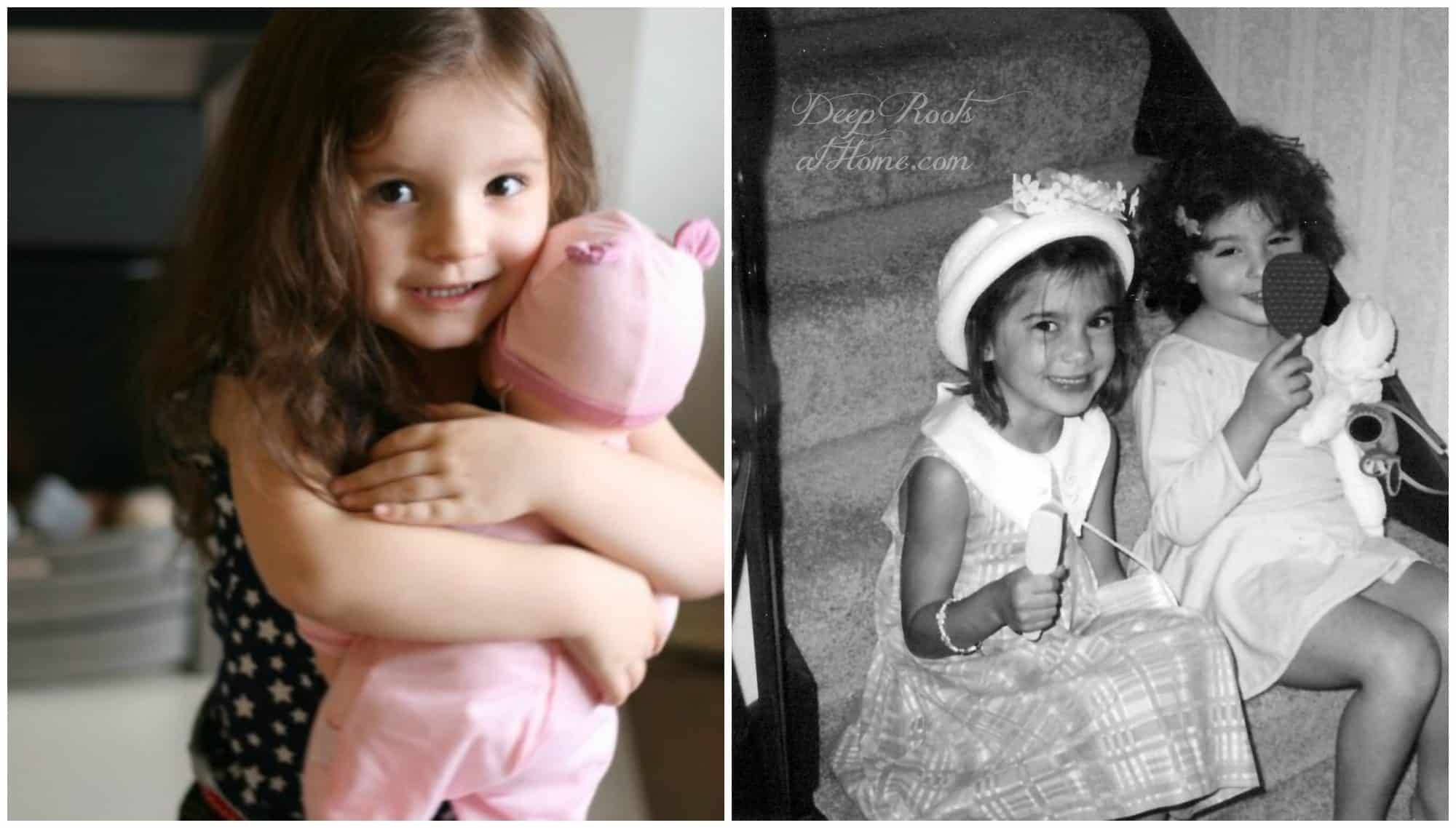 A little girl with baby doll and Two 6 year old girls playing dress-up