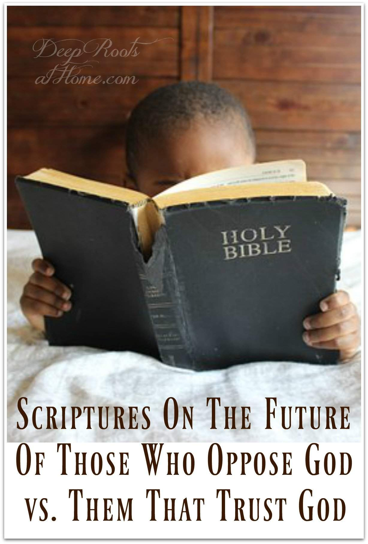 Scriptures on the Future of those who Oppose God vs. them that Trust God. A young boy reading a tattered Bible