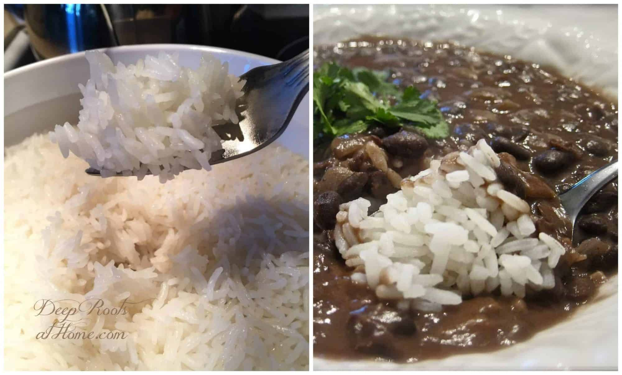 Beans & Jasmine Sticky Rice: A (2 in One) Instant Pot Meal. Hot sticky rice