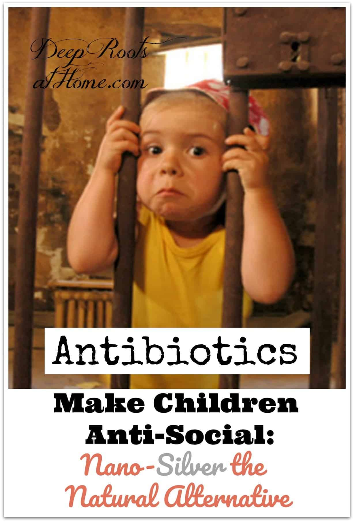 Antibiotics Make Children Anti-Social | Nano-Silver the Natural Alternative. A pouting boy behind bars
