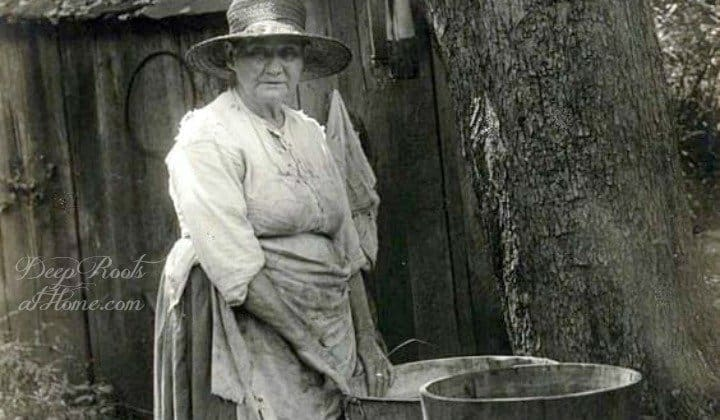"From Grandmother: A ""Warshing Clothes Recipe"" - Imagine This! old woman warshing clothes in tubs"