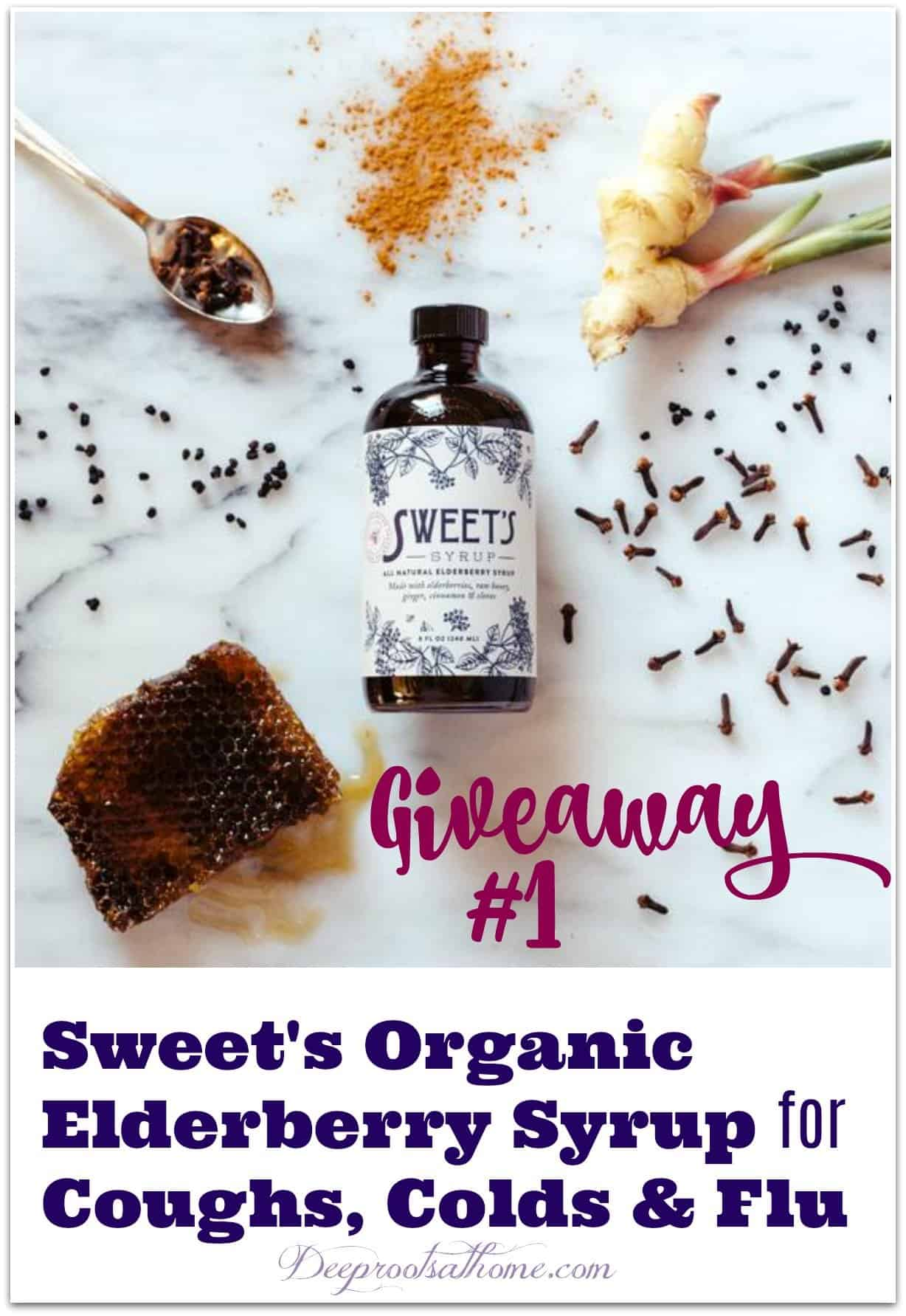 Giveaway #1: Sweet's Organic Elderberry Syrup For Coughs, Colds & Flu. Giving away an 8 oz, bottle